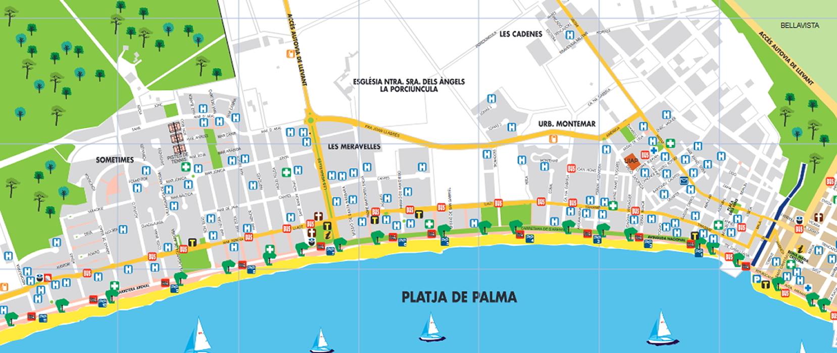 playa de palma karte Beach of S'Arenal of Llucmajor   Visit Llucmajor : Visit Llucmajor playa de palma karte